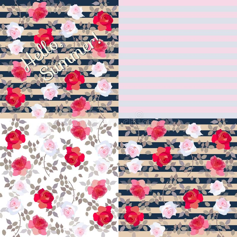 Collection of vintage patterns with roses and stripes. Vector illustration.  stock illustration