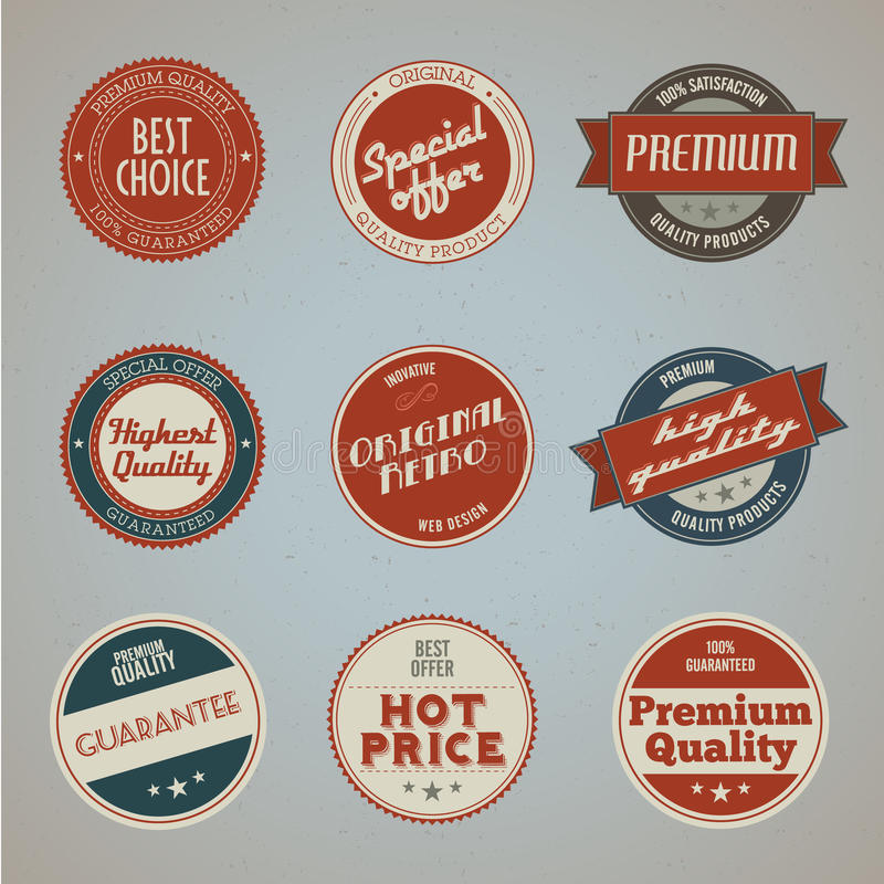 Collection of vintage premium quality labels stock illustration