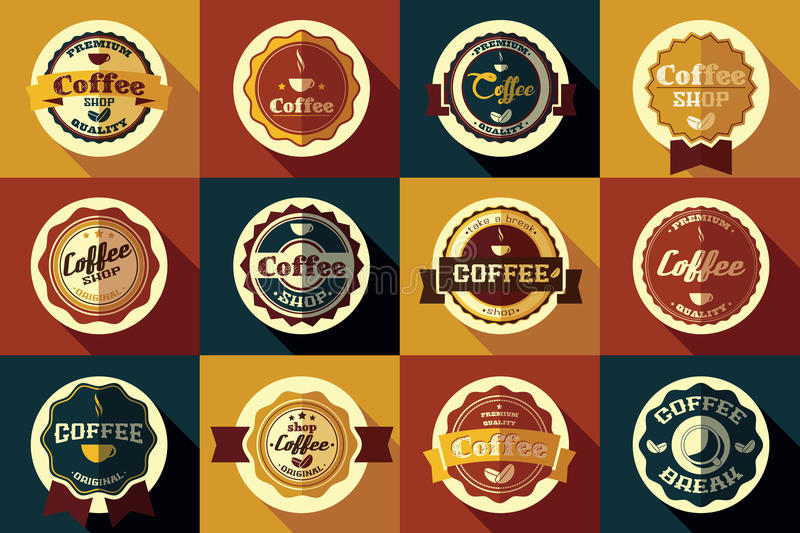 Collection of vintage retro coffee stickers, badges, ribbons. And labels, vector illustration stock illustration