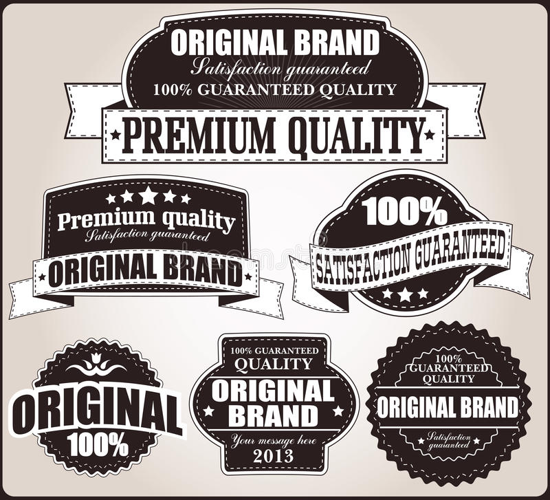 Collection of vintage retro labels, badges, stamps, ribbons. Marks and typographic design elements, vector illustration stock illustration