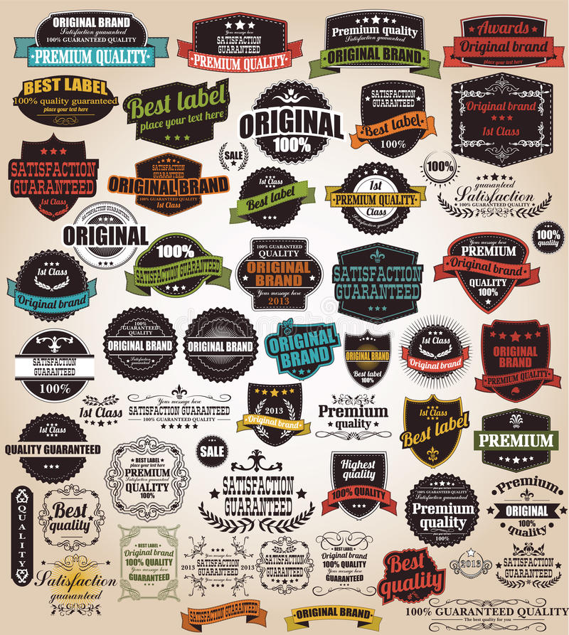 Collection of vintage retro labels, badges, stamps, ribbons stock illustration