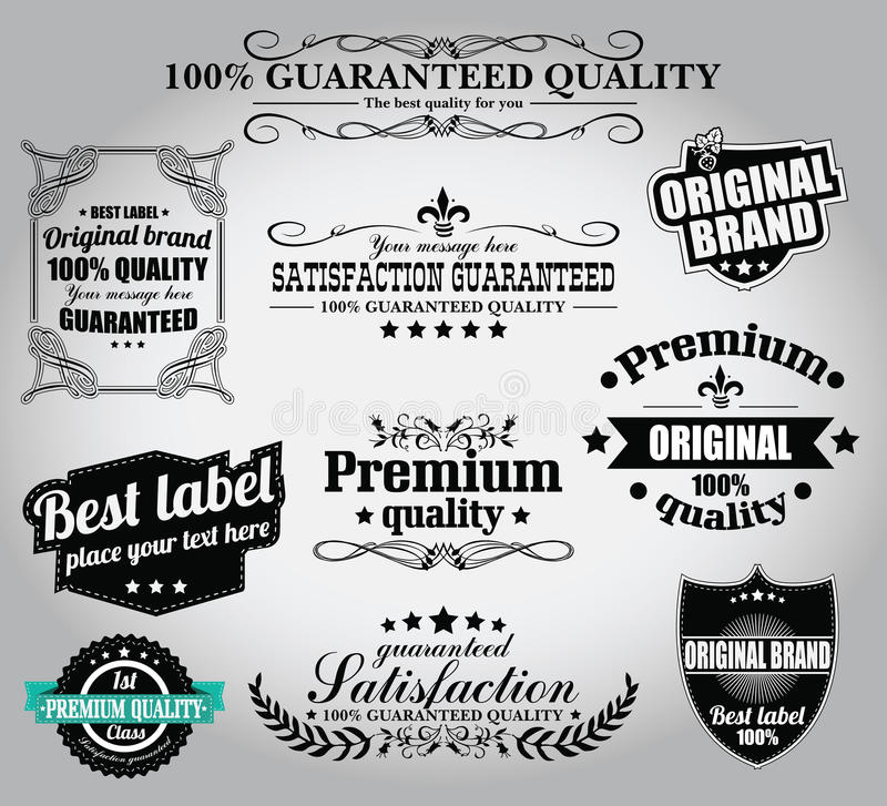 Collection of vintage retro labels, badges, stamps, ribbons. Marks and typographic design elements, vector illustration vector illustration