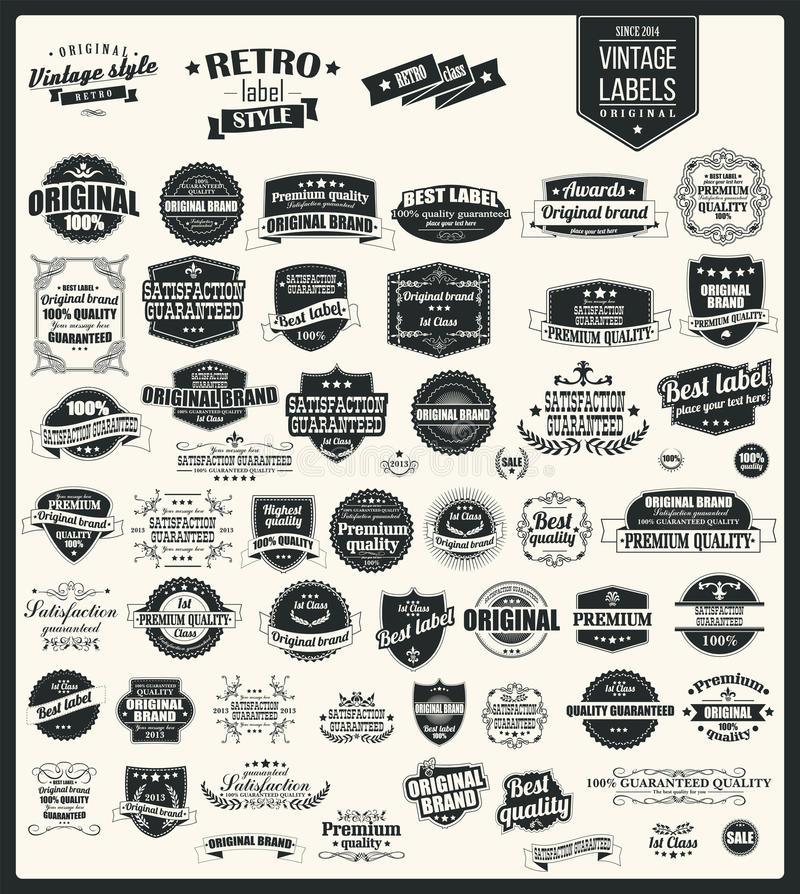 Collection of vintage retro labels, badges, stamps, ribbons. Marks and typographic design elements, vector illustration royalty free illustration