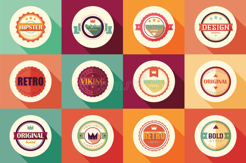 Collection of vintage retro labels, badges, stamps and ribbons. Collection of vintage retro labels, badges, stamps, ribbons, marks and typographic design stock illustration