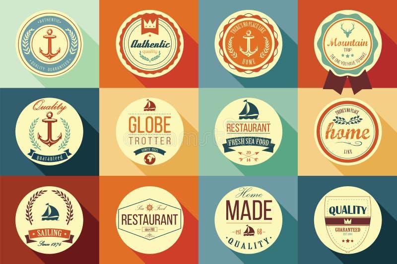 Collection of vintage retro labels, badges, stamps and ribbons. Collection of vintage retro labels, badges, stamps, ribbons, marks and typographic design vector illustration