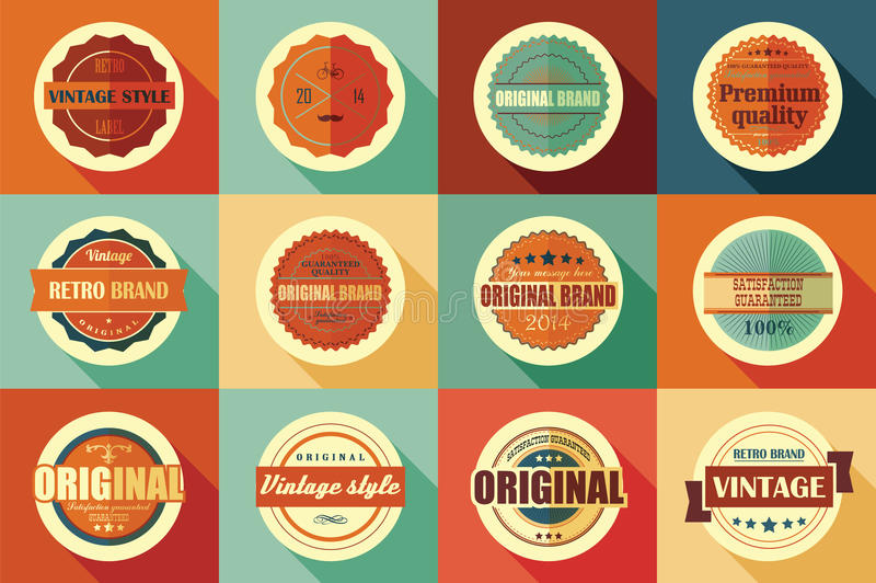 Collection of vintage retro labels, badges, stamps and ribbons. Collection of vintage retro labels, badges, stamps, ribbons, marks and typographic design stock illustration