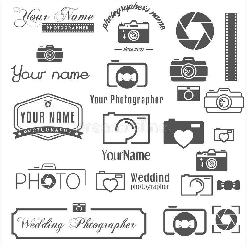 Collection of vintage, retro and modern logo stock illustration