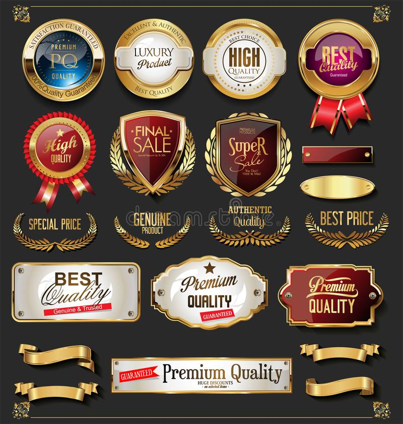 Collection of vintage retro premium quality golden badges and labels stock illustration