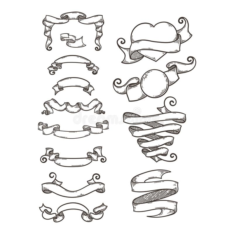 Collection of vintage ribbon, hand drawn doodle set. royalty free illustration