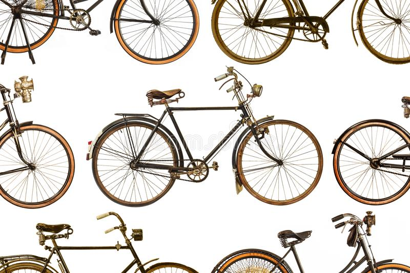 Collection of vintage rusted bicycles royalty free stock photos