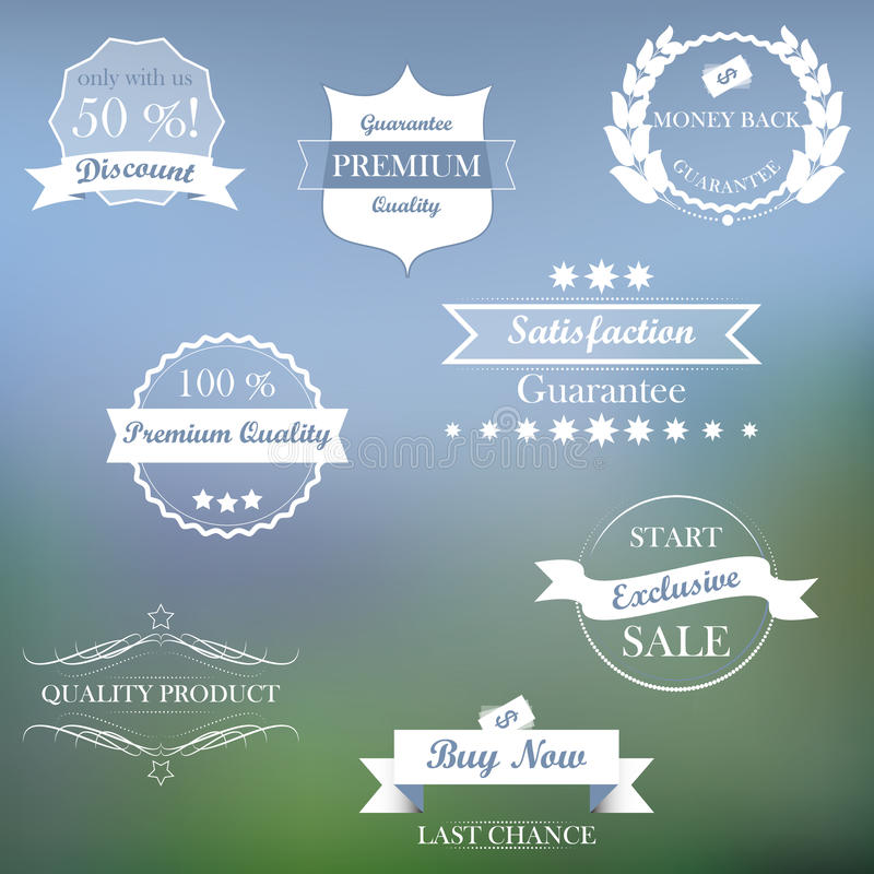 Collection of vintage sale labels and ribbons. Illustration vector illustration
