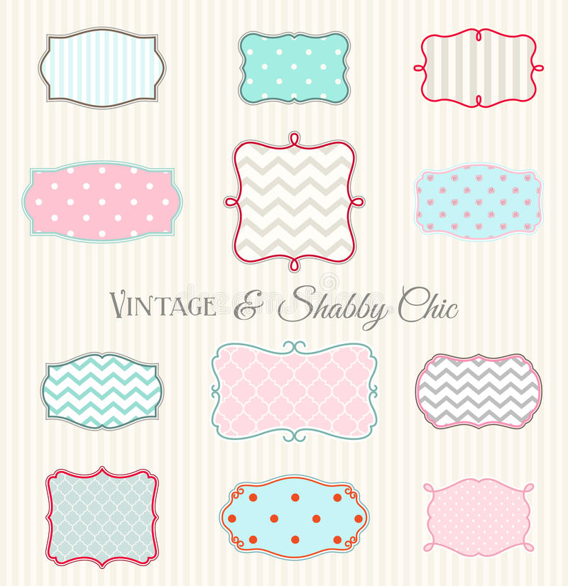 Collection of vintage and shabby chic frames, illustration royalty free illustration