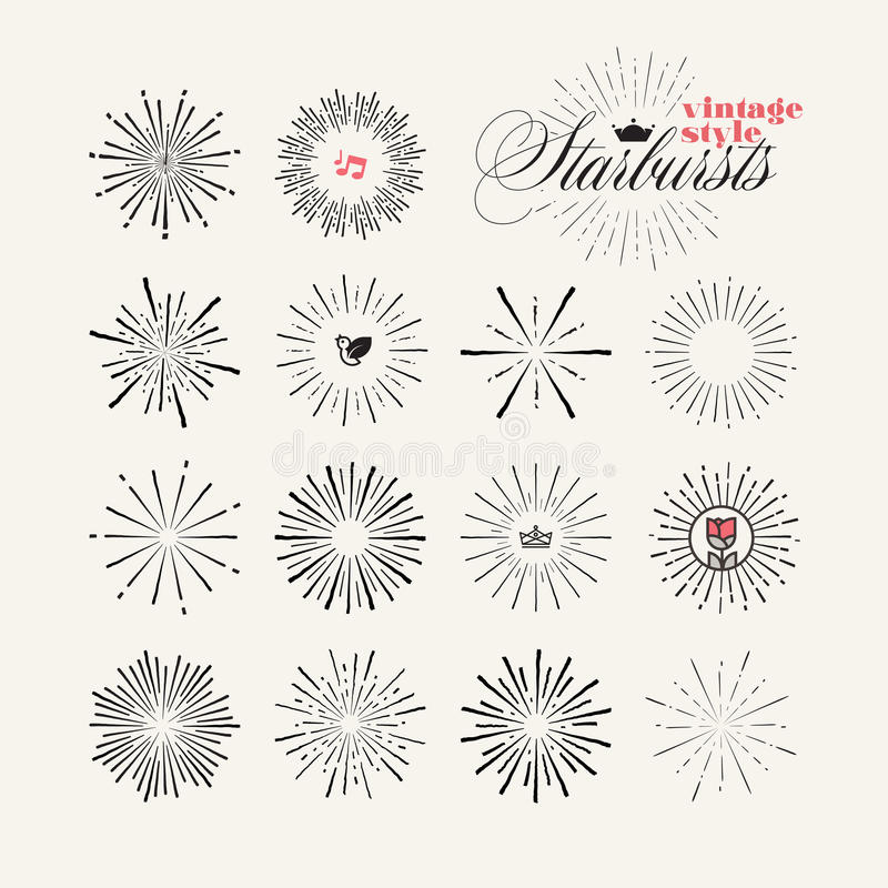 Collection of vintage style starburst hand drawn elements stock illustration