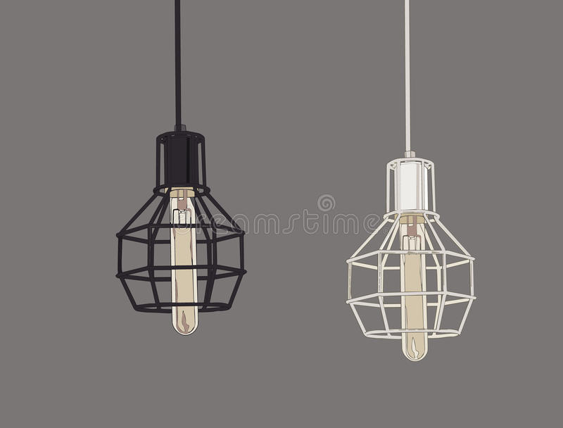 Collection of vintage symbols light bulbs and lamps.Edison light. Bulbs. Hand drawn sketch line art vector royalty free illustration