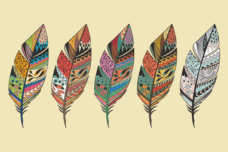 Collection of vintage tribal ethnic hand drawn colorful feathers vector illustration