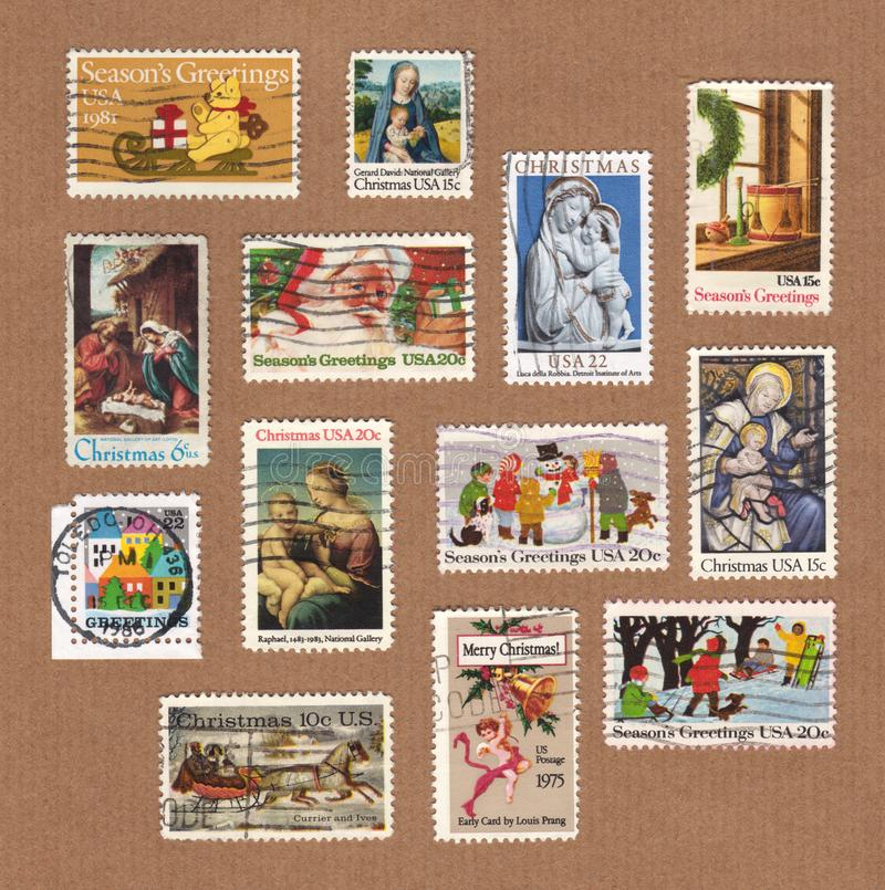 Collection Of Vintage Usa Christmas Stamps Editorial Stock