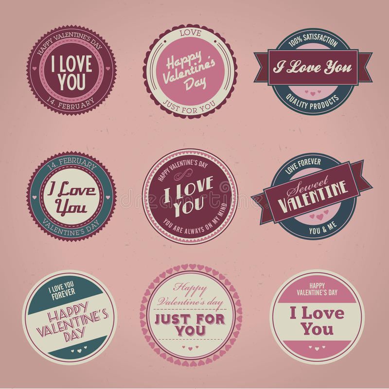 Collection of vintage Valentine's day labels stock illustration