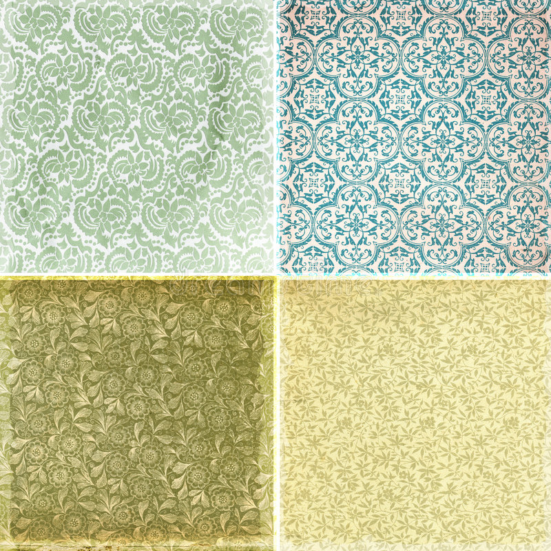 Collection of vintage wallpaper pattern textures stock illustration