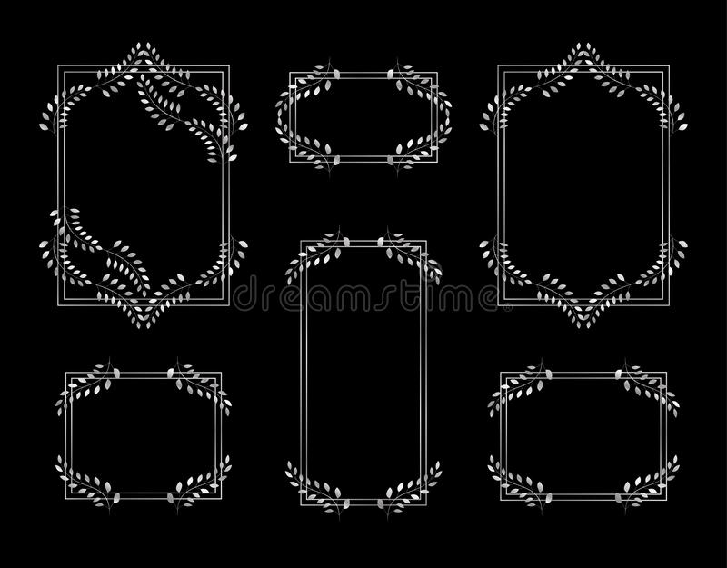 Collection of vintage white gold frames with foliage decoration. vector illustration