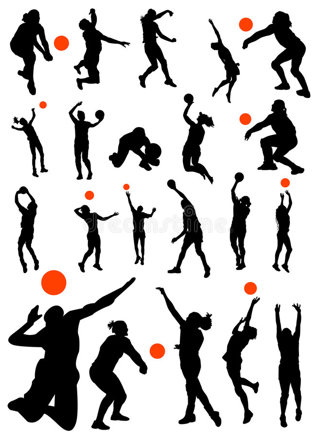 Volleyball Silhouettes Stock Vector Illustration Of Move