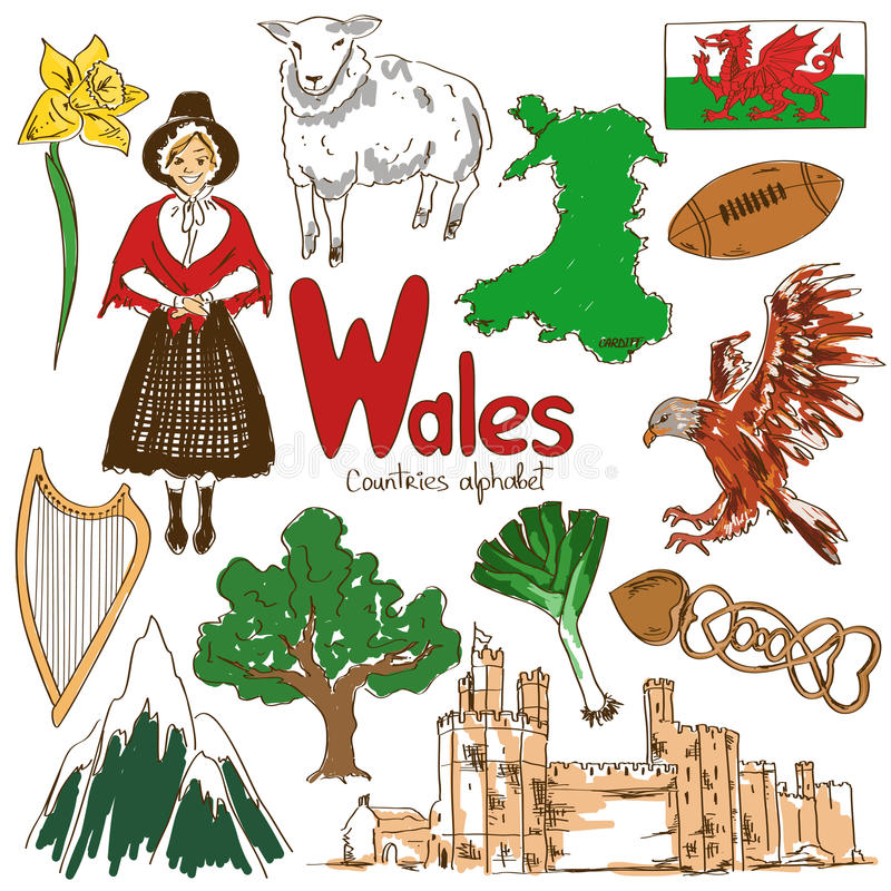 Collection of Wales icons vector illustration
