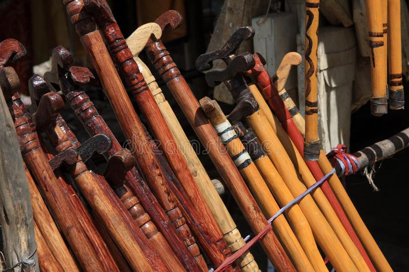 A Collection of Walking Sticks In An African Market. Axum, Ethiopia, East Africa royalty free stock images