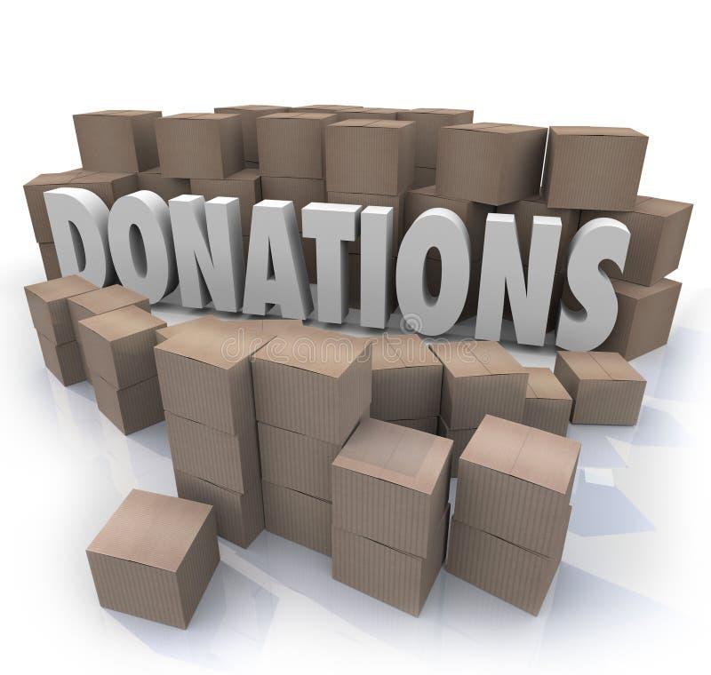 Collection Warehous d'entraînement de charité de boîtes en carton de Word de donations illustration libre de droits