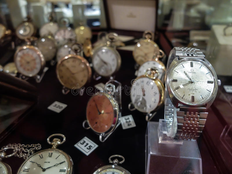 Collection of watches for sale stock images