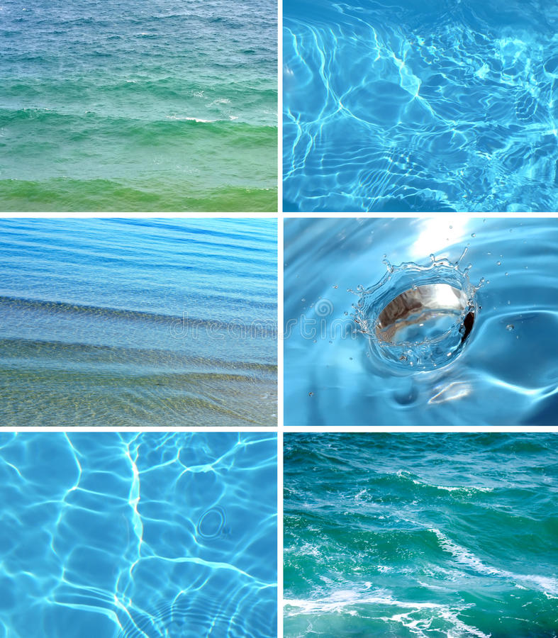 Collection of water backgrounds stock photos