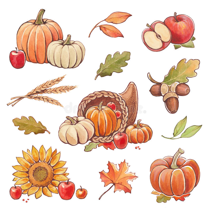 Collection of watercolor autumn illustrations royalty free illustration