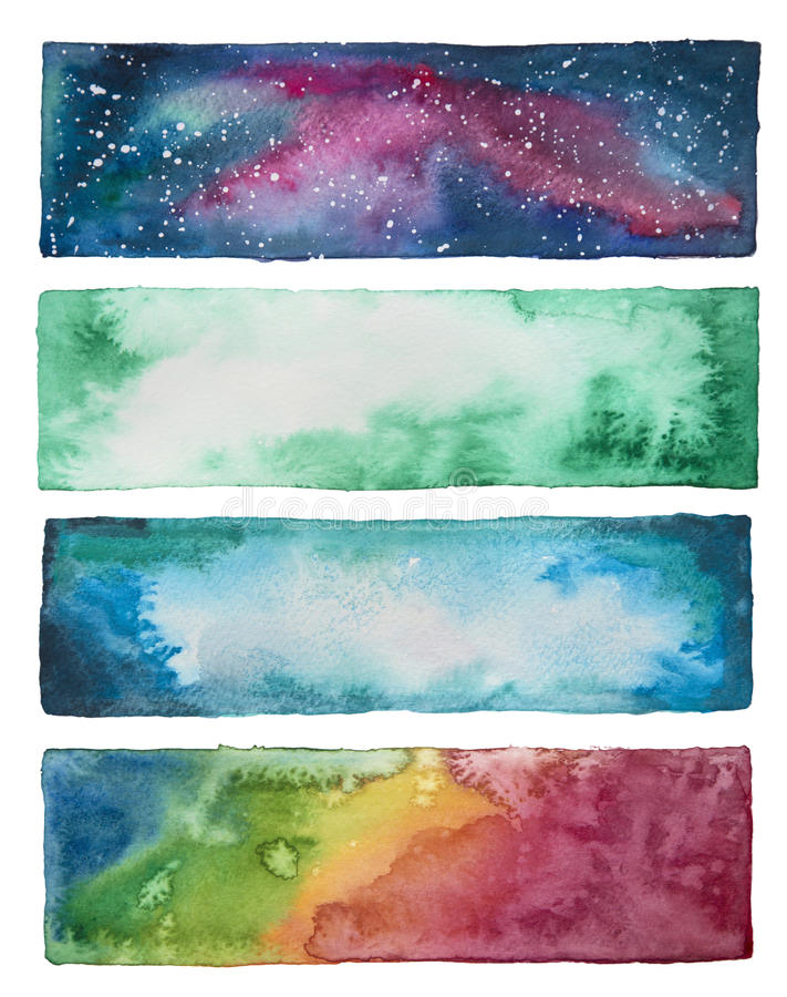 Collection of watercolor banners. On a white royalty free illustration