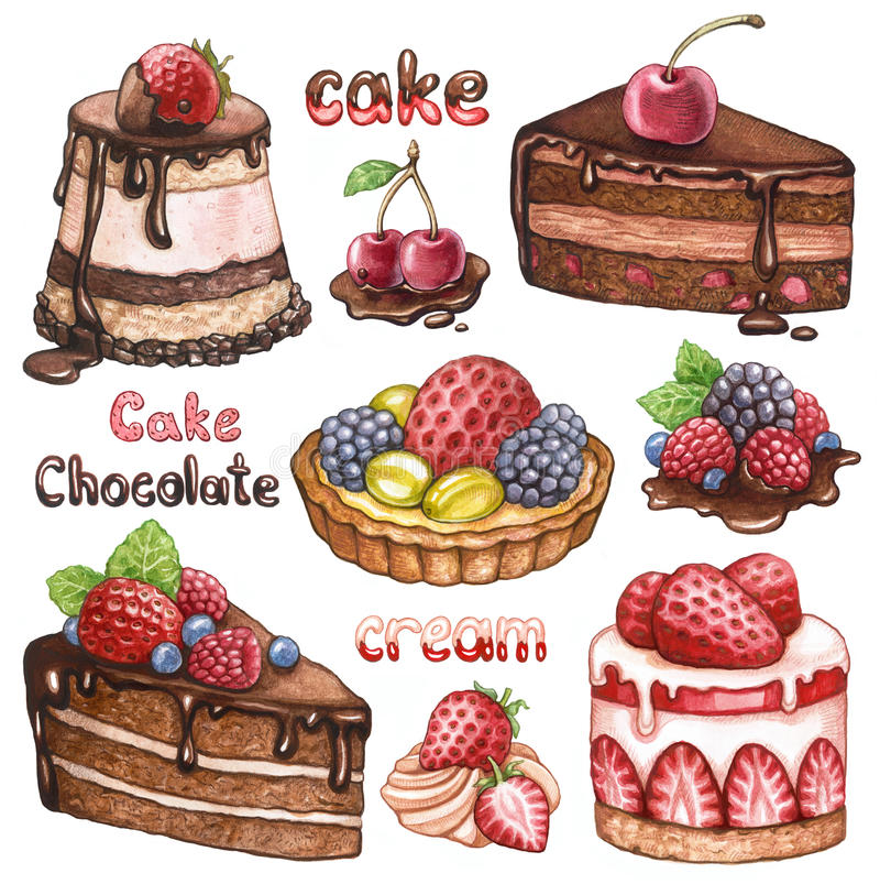Collection of watercolor cakes royalty free illustration