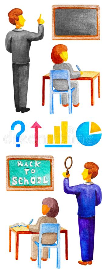 Collection of watercolor elements on the school theme. The student at the table in the chair, teacher, blackboards, graphics, stock illustration