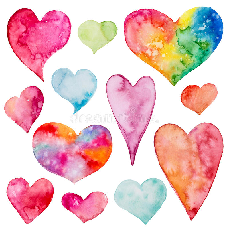 Collection of watercolor hearts. Isolated on a white background vector illustration