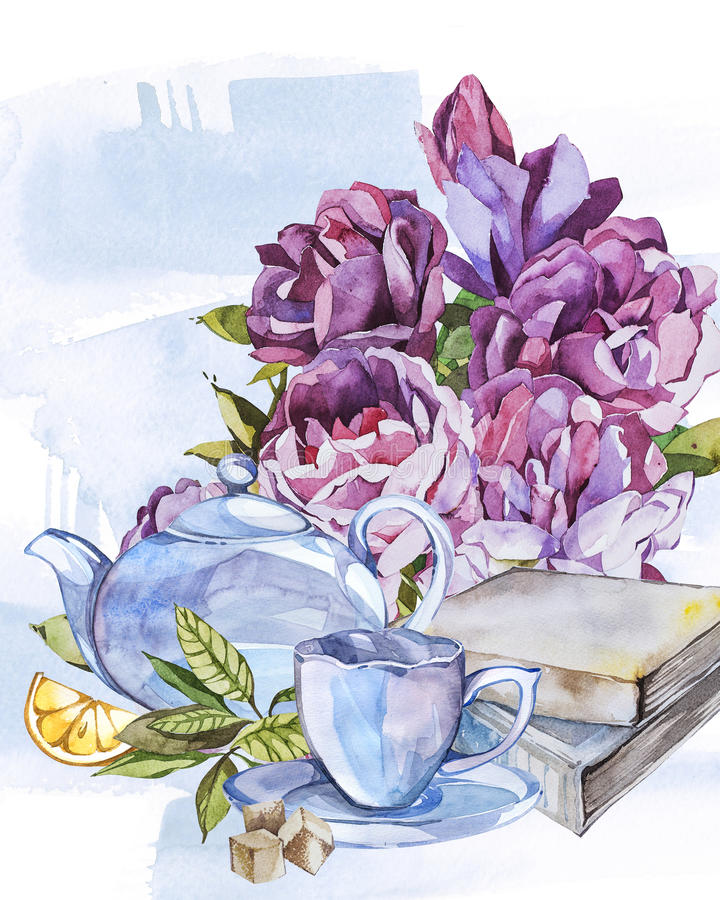Collection of watercolor illustration on the theme tea. vector illustration