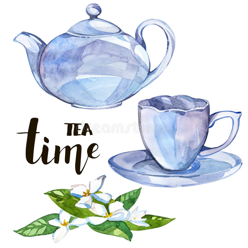Collection of watercolor illustration on the theme tea. royalty free illustration