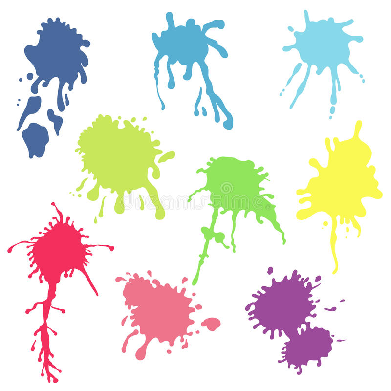 Collection of watercolor paint splash. Vector set of color brush. Strokes. Isolated on white background stock illustration