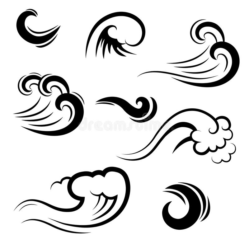 Collection of waves - shapes, silhouettes isolated vector illustration