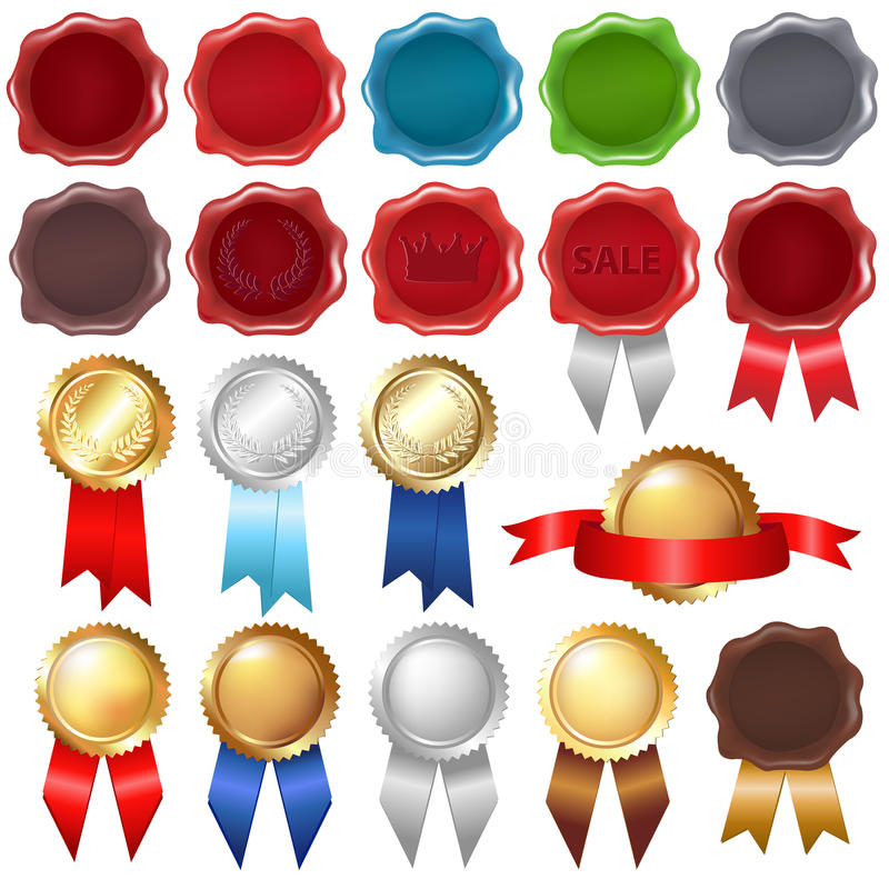 Collection Wax Seal And Award Ribbons. Vector stock illustration