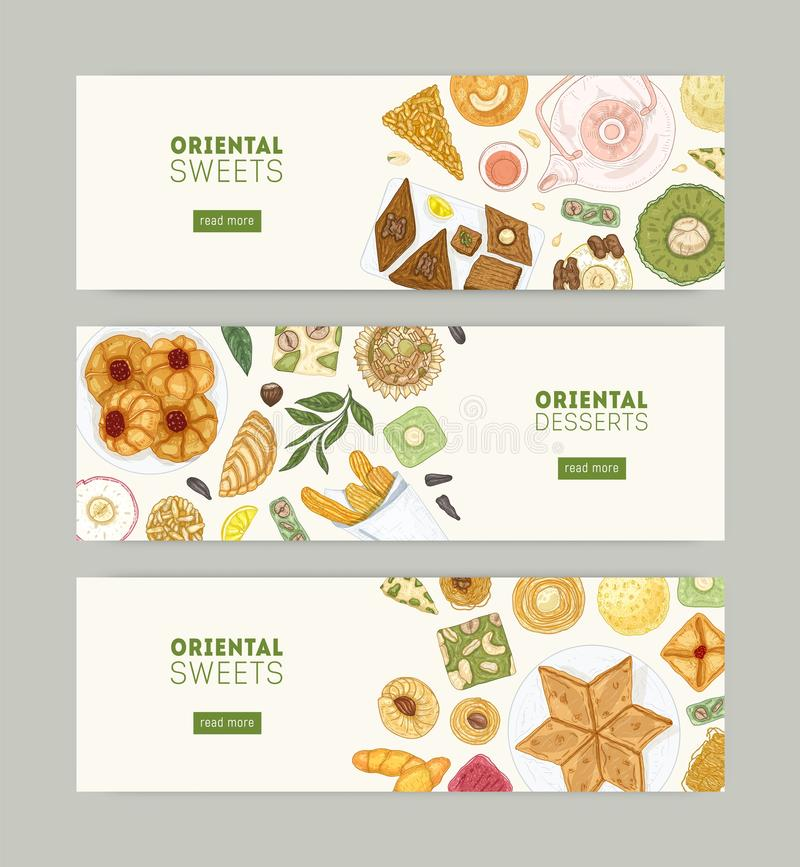 Collection of web banner templates with oriental sweets on plates and place for text. Traditional pastry food, delicious. Confections on white background. Hand stock illustration