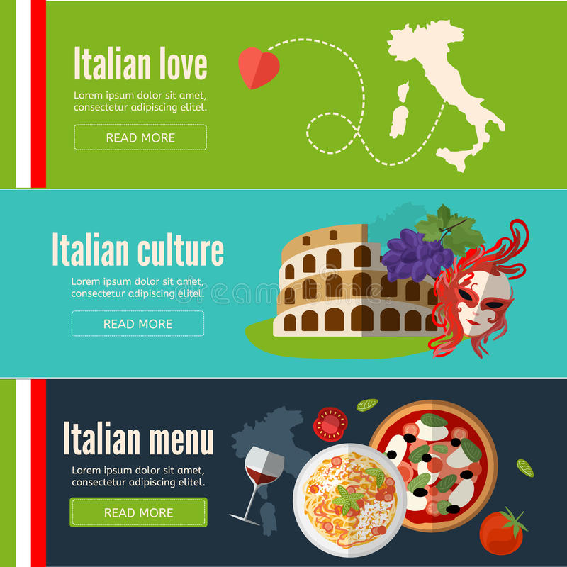 Collection of web banners with Italian food, symbols and architecture. Italy banner set with italian style culture . Flat style. EPS 10 vector illustration