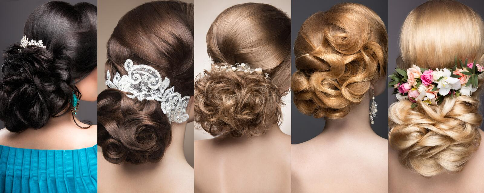 Collection of wedding hairstyles. Beautiful girls. Beauty hair. stock image