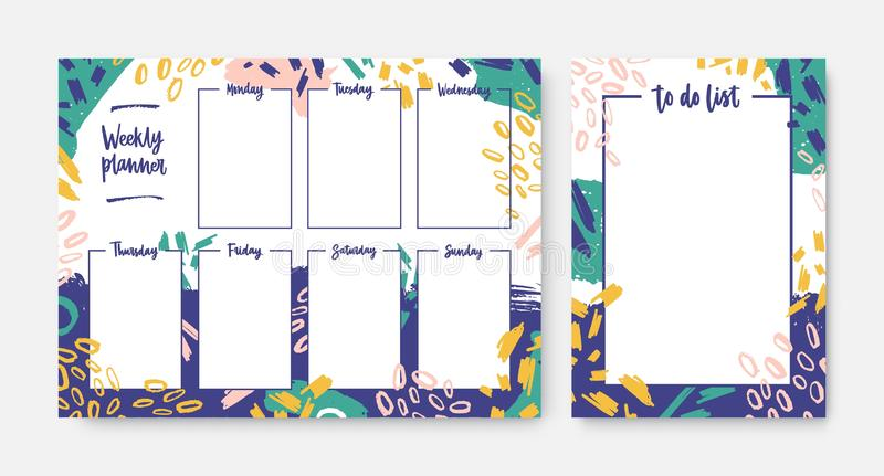 Collection of weekly planner and to-do-list templates with frame decorated by bright colored brush strokes and scribble. Everyday task and appointment planning vector illustration