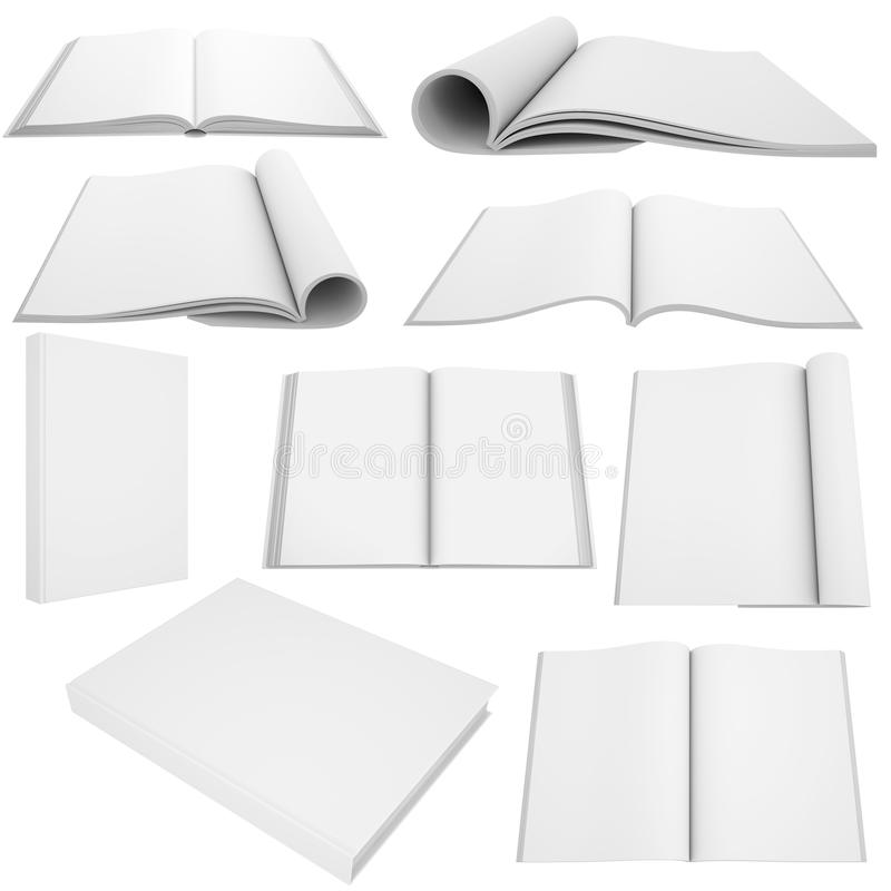 Collection of white books and magazines stock illustration