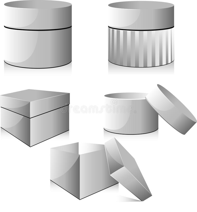 Collection of white cardboard boxes royalty free illustration