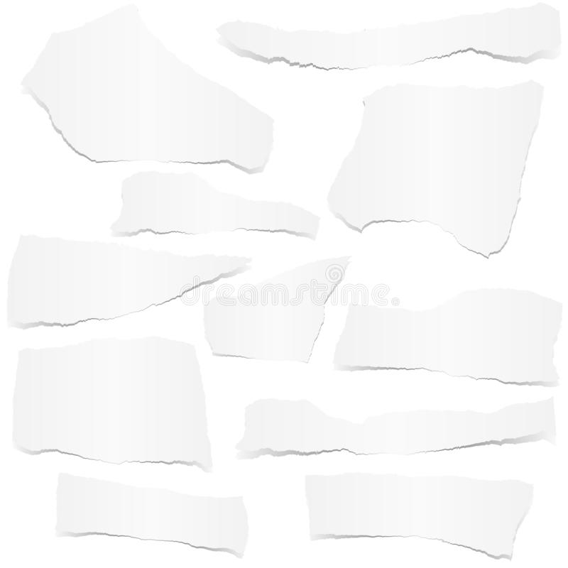 Collection scrap of paper. Collection of white colored scraps of papers with shadow sheet notepaper memo broken demolished shred tore crack set ripped damaged vector illustration