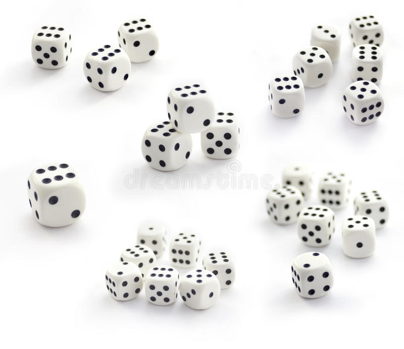 Collection of white dices isolated on white stock images