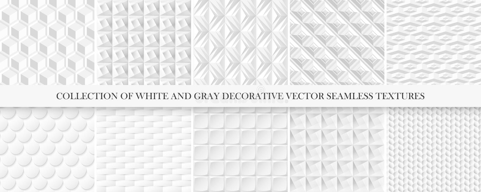 Collection of white and gray tile seamless decorative textures. Geometric repeatable backgrounds. Vector 3d patterns. vector illustration
