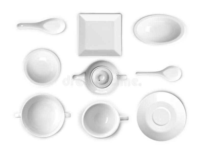 Collection of white kitchen ware stock photography
