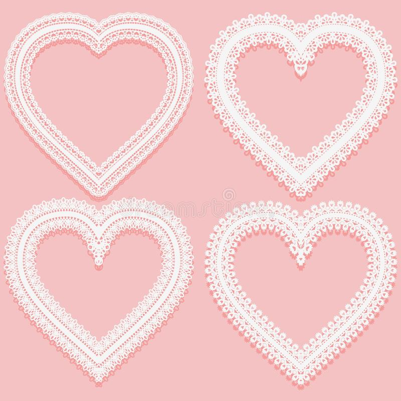 Collection of white Lacy frames in the shape of heart. Openwork vintage elements isolated on a pink background. royalty free illustration